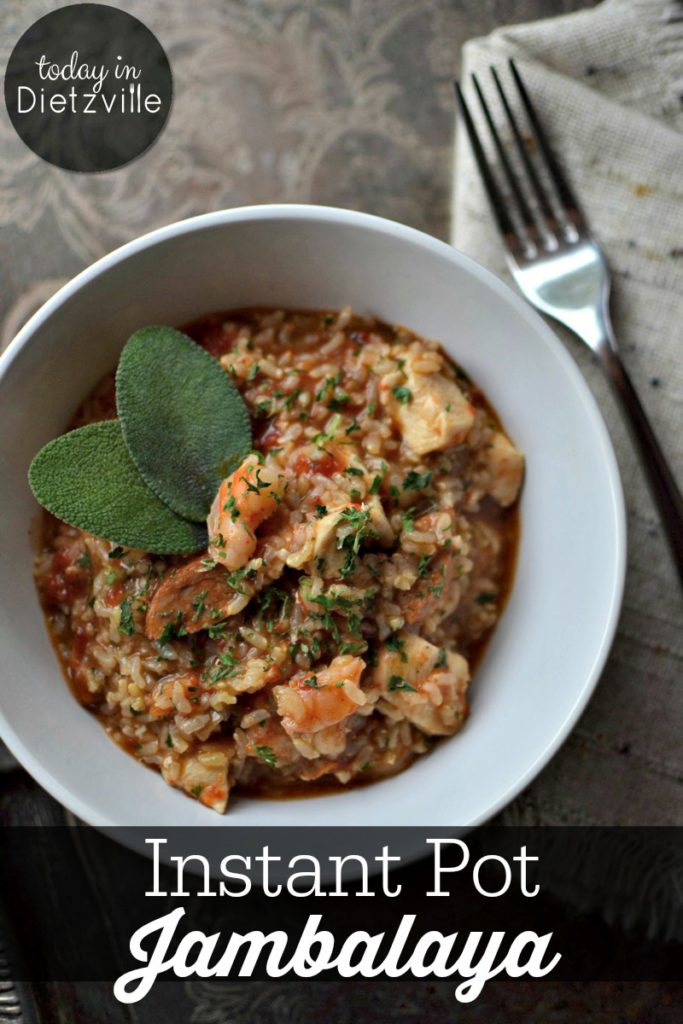 Easy & Spicy Instant Pot Jambalaya | Comfort food looks like a cheesy casserole and chicken noodle soup. And jambalaya. Oh, how I love thee. Have some Southern comfort food... easy and spicy Instant Pot jambalaya (hello! only 1 pot!)! Using sprouted brown rice keeps it gluten-free, easily digestible, and extra nourishing!
