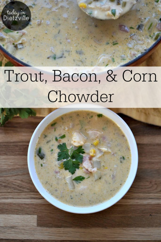 Trout, Bacon, & Corn Chowder | When our son was invited to go trout fishing on the last day of the season and caught some, I knew exactly what I wanted to do with them. With the sweetness of corn and the smokiness of bacon, this trout chowder is nourishing, hearty, and not fishy AT ALL! | AllTheNourishingThings.com