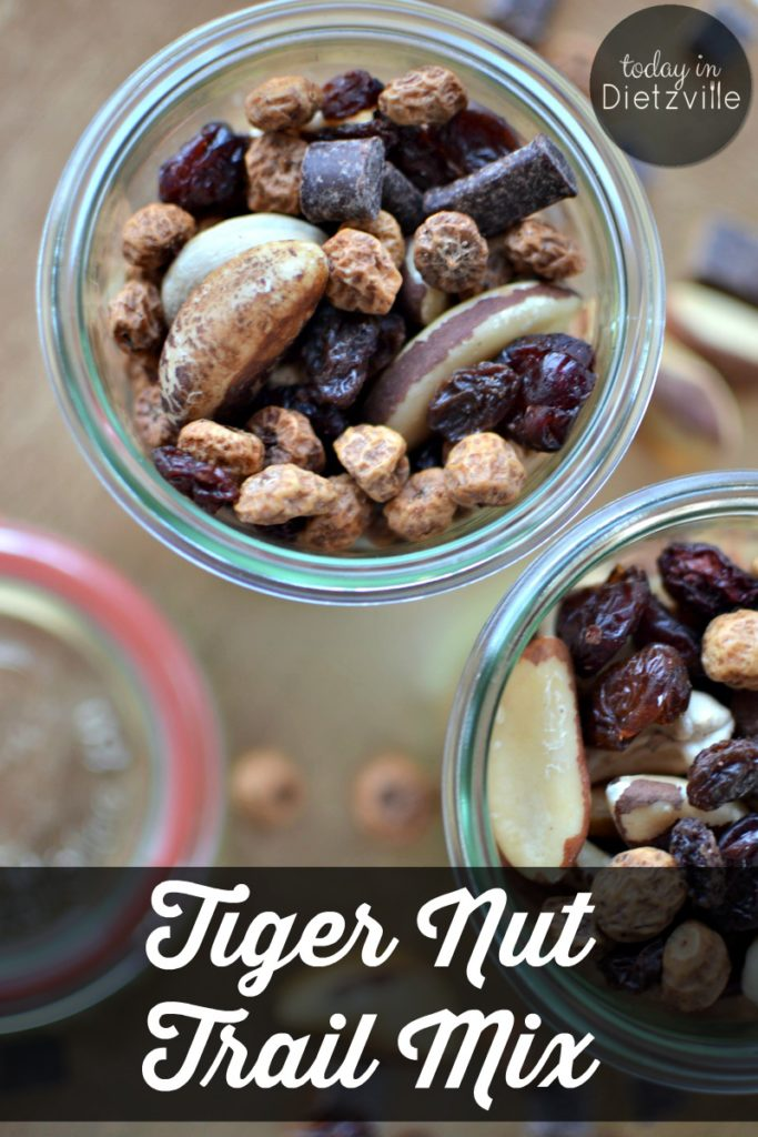 Tiger Nut Trail Mix | With selenium-rich Brazil nuts, magnesium-rich cashews, and the resistant starch of tiger nuts, this Tiger Nut Trail Mix is a perfect on-the-go snack for the whole family! Pack it in lunches, throw a bag in your purse, or use it as a road trip snack! | AllTheNourishingThings.com