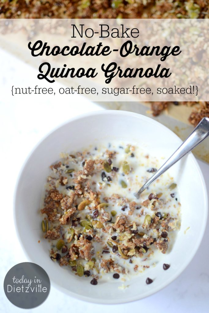No-Bake Chocolate-Orange Quinoa Granola   Even with all its convenience, I can't bring myself to buy an expensive box of cereal that's full of processed grains and tons of sugar. So what's a girl to do when she's jonesing for a bowl of cereal? Make this! This easy No-Bake Chocolate-Orange Quinoa Granola is nut-free, oat-free, sugar-free, soaked to reduce phytates, and won't heat up your house!   AllTheNourishingThings.com
