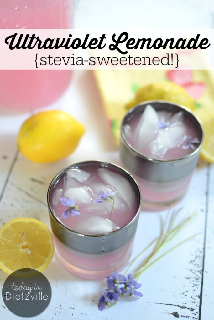 Ultraviolet Lemonade {stevia-sweetened!} | Bottle up summer with this sugar-free Ultraviolet Lemonade, made from wild violets! It's a low-carb, low-glycemic, floral twist on classic lemonade -- and a non-alcoholic way to enjoy wild violets! | AllTheNourishingThings.com