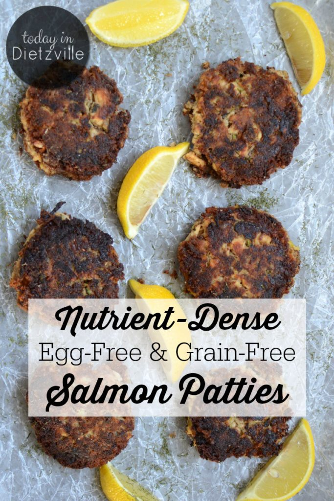 Nutrient-Dense Egg-Free & Grain-Free Salmon Patties | Full of nutrition, a hidden veggie, and a superfood, these egg-free and grain-free salmon patties are allergy-friendly home cookin'! They're Paleo, Whole30, and GAPS Diet-friendly, too! | AllTheNourishingThings.com