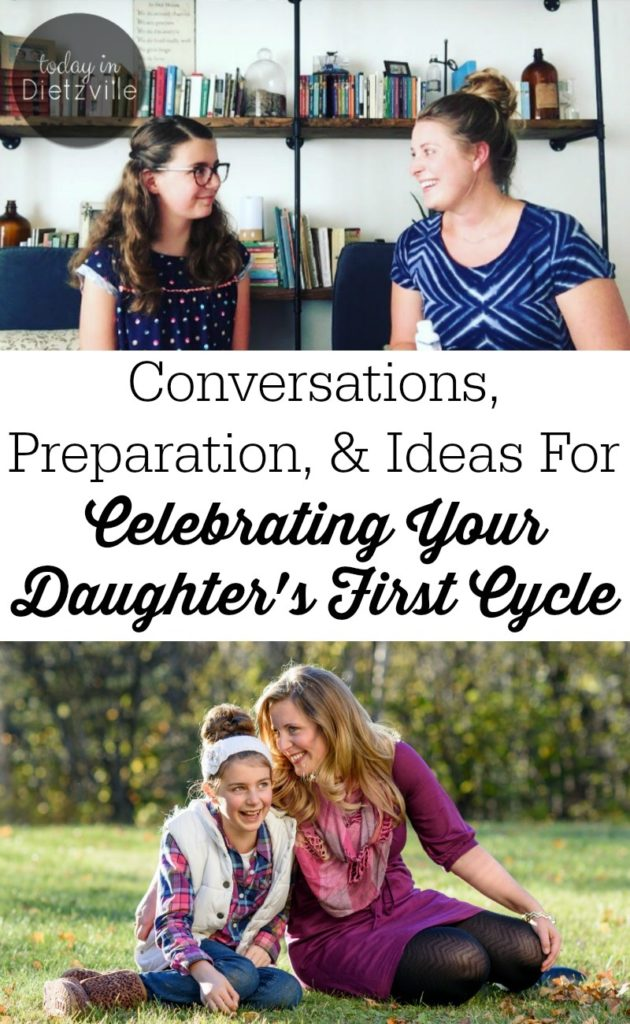 Conversations, Preparation, & Ideas For Celebrating Your Daughter's First Cycle | I made up my mind years ago... My daughter was NOT going to dread her period. In this post, you'll learn all the open conversations about menarche (the first period) that I've had with my daughter, plus practical, fun, and special ideas to celebrate this rite of passage in every girls' life! | AllTheNourishingThings.com