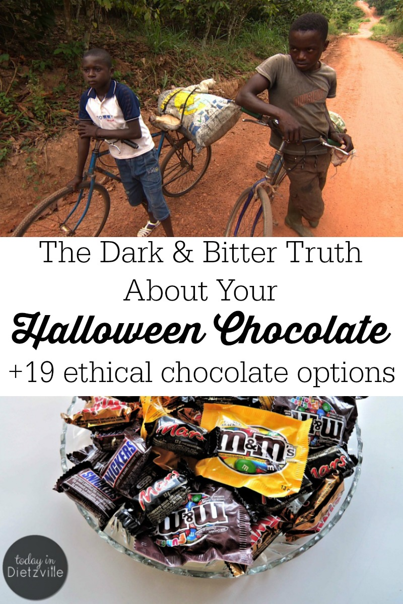 The Dark & Bitter Truth About Your Halloween Chocolate | Are you buying chocolate for Halloween? You may change your mind after you discover the dark and bitter truth about your Halloween chocolate. As consumers, we make the most important, ethical, and sustainable choices with our dollars. If you choose to have an ethical Halloween, here are 19 Fair Trade chocolate options, too! | AllTheNourishingThings.com