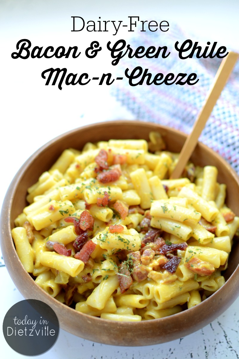 Nothing gets my family excited like a cold day and some creamy, cheesy comfort food! This Dairy-Free Bacon & Green Chili Mac-n-Cheeze has all the characteristics of traditional macaroni and cheese, but no actual cheese! It's budget-friendly, full of hidden veggies, and allergy-friendly!
