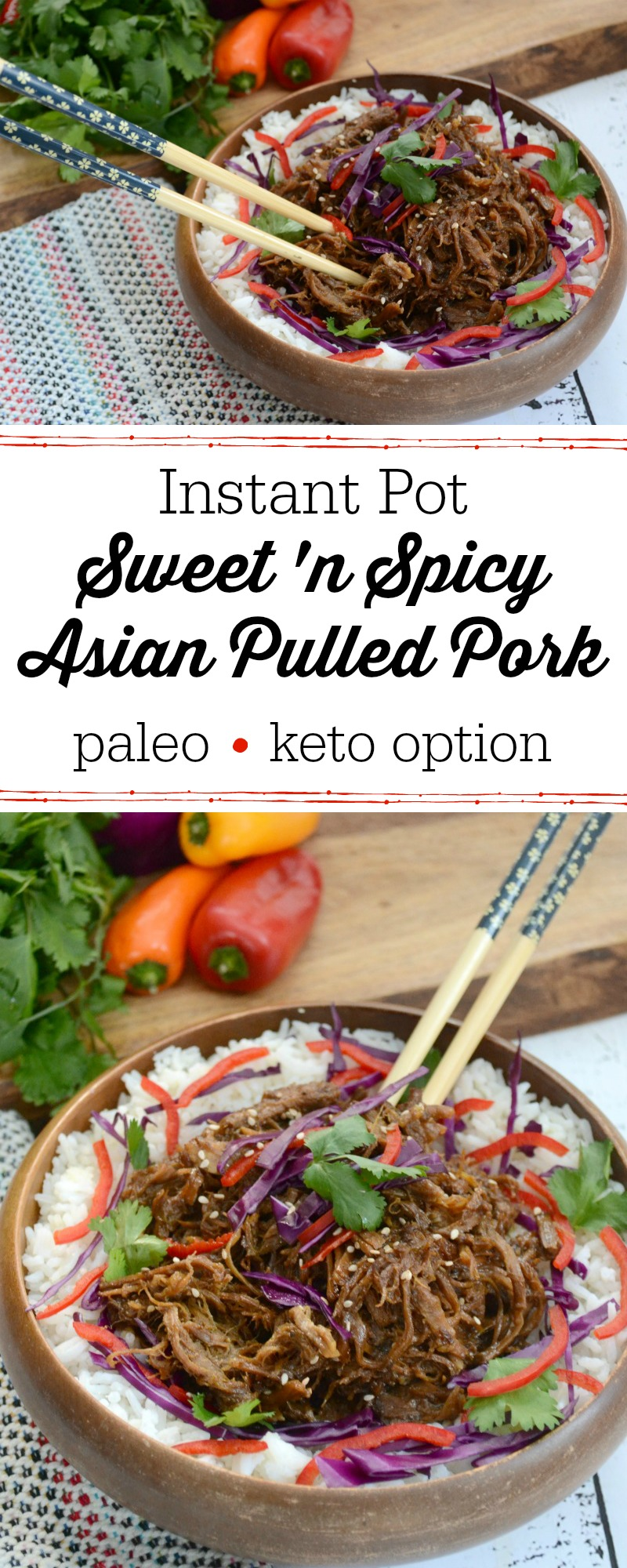 wooden bowl of instant pot sweet 'n spicy asian pulled pork with chopsticks