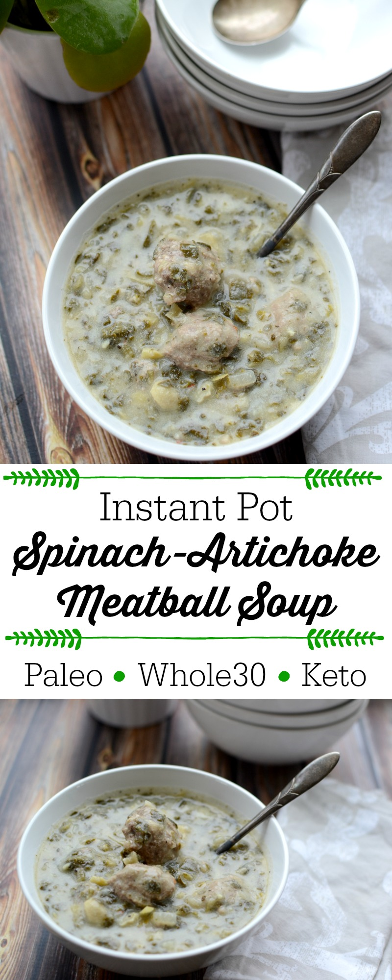 I was craving spinach and artichoke dip (without the dairy, of course) AND meatballs -- so I put them together and hoped it would work! Happily, it did! The result is a creamy, hearty, filling, and nourishing low-carb, veggie-filled soup! This Instant Pot Spinach-Artichoke Meatball Soup is Paleo, Whole30, and Keto-friendly!