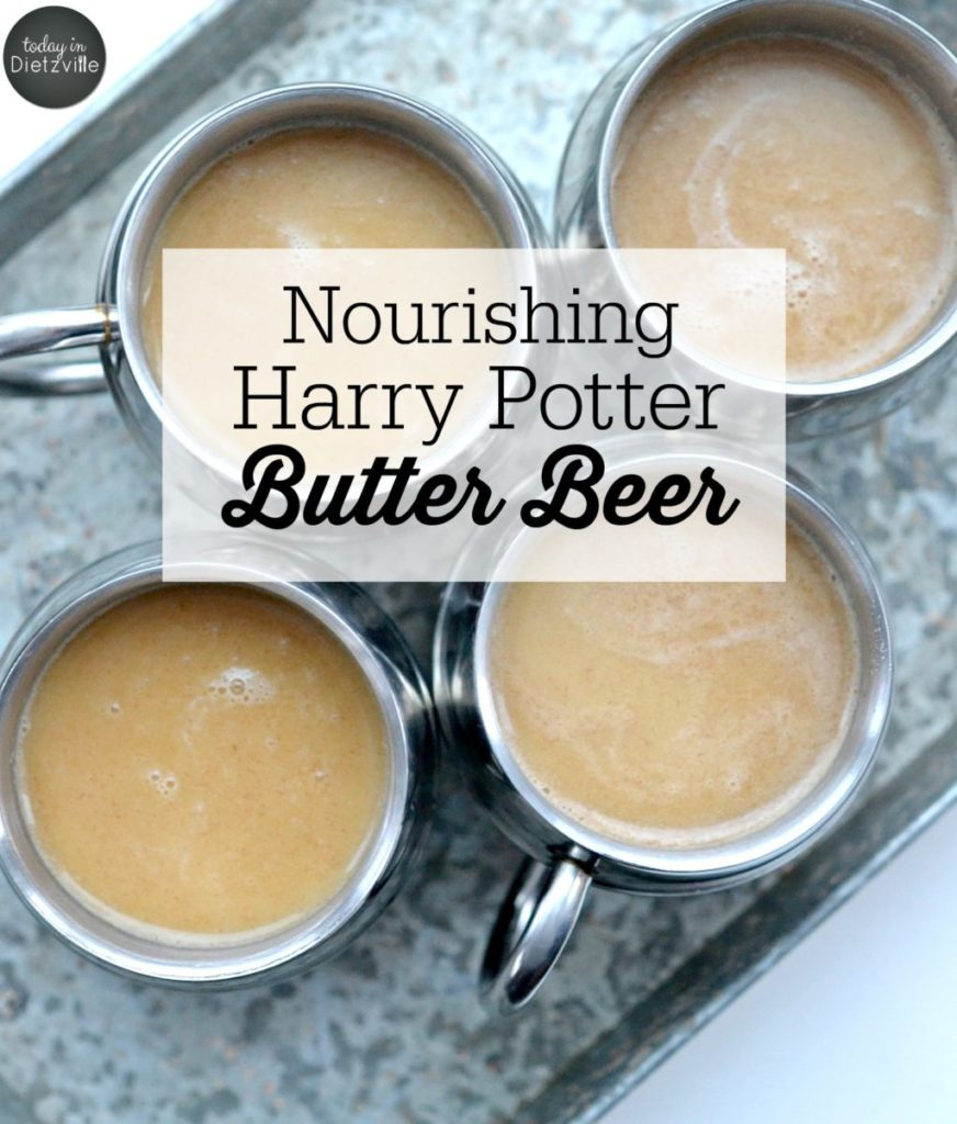 Nourishing Harry Potter Butter Beer {non-alcoholic} | Harry Potter fans, exchange your hot cocoa for this nourishing, non-alcoholic Harry Potter Butter Beer! It's full of Real Food ingredients and has a caramel-y, slighty salty, sweet, and creamy taste that just begs for a family movie night with healthy snacking!