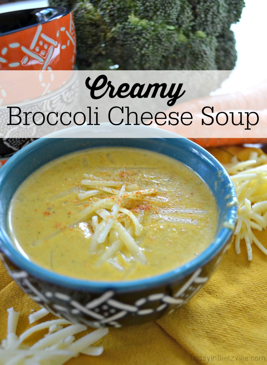 Creamy Broccoli Cheese Soup | I've been cooking up a storm lately... And so I cook soup. I want bone broth and veggies and cheese. I want warm and creamy and soothing. I can't really ask for a better soup than this to settle in and cozy up with: a creamy broccoli-cheese soup that is nothing like the gloppy, gooey mess you pour out of a can. | AllTheNourishingThings.com