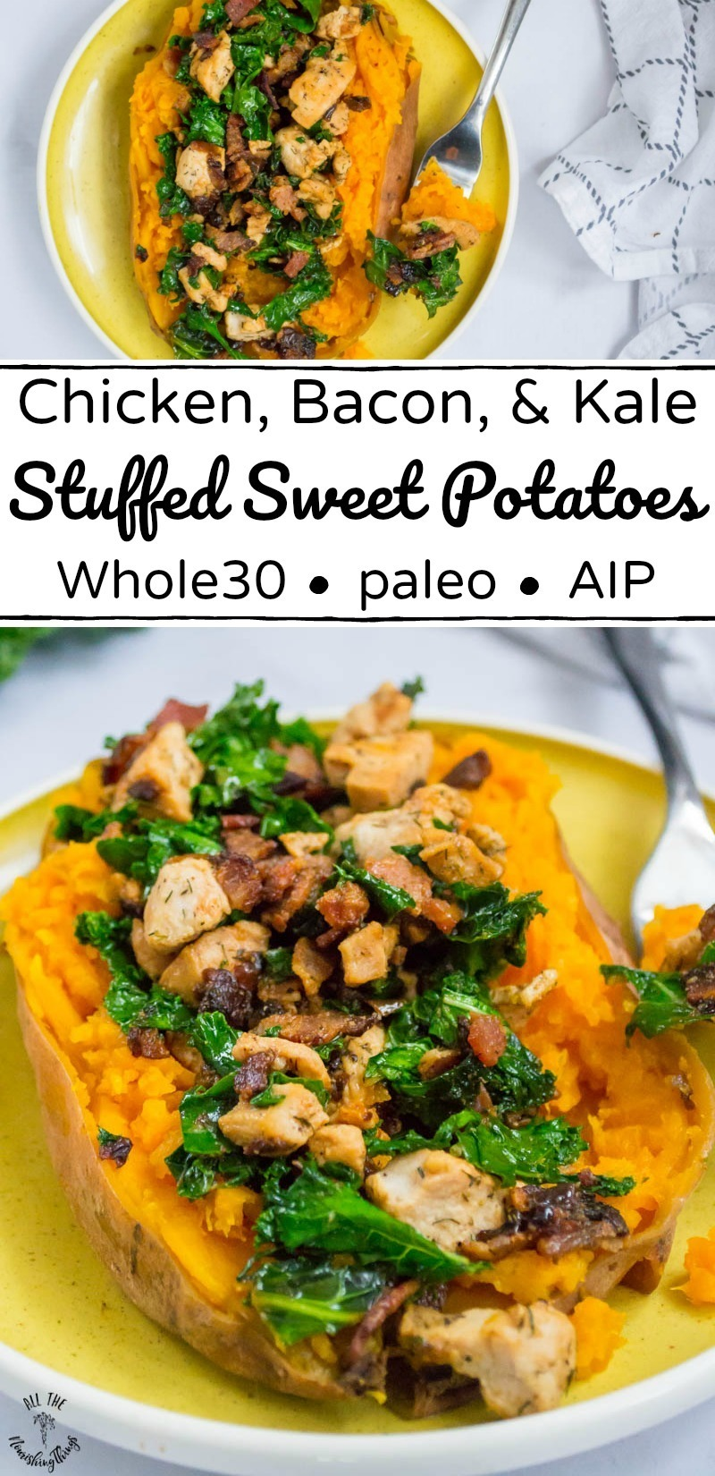 chicken, bacon, and kale stuffed sweet potatoes with text overlay