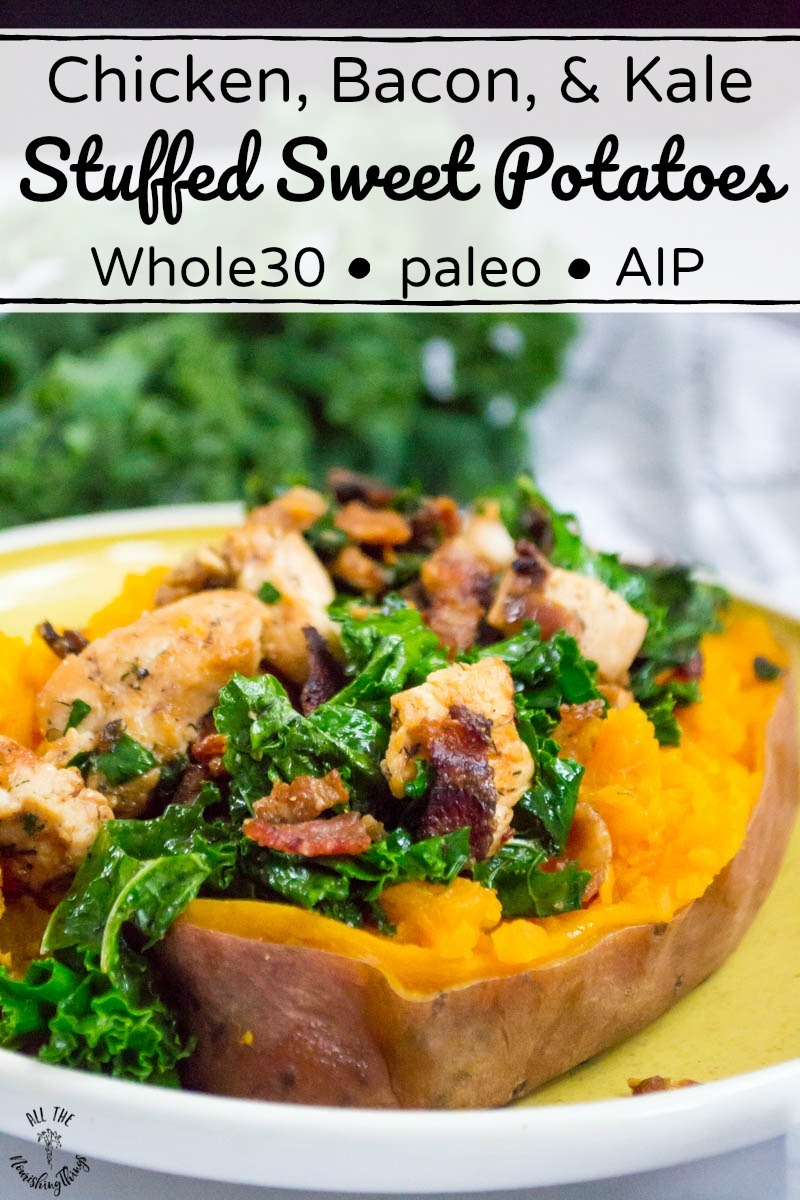 chicken, bacon, and kale stuffed sweet potato with text overlay