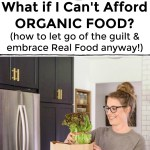 collage of images about affording organic food with text overlay