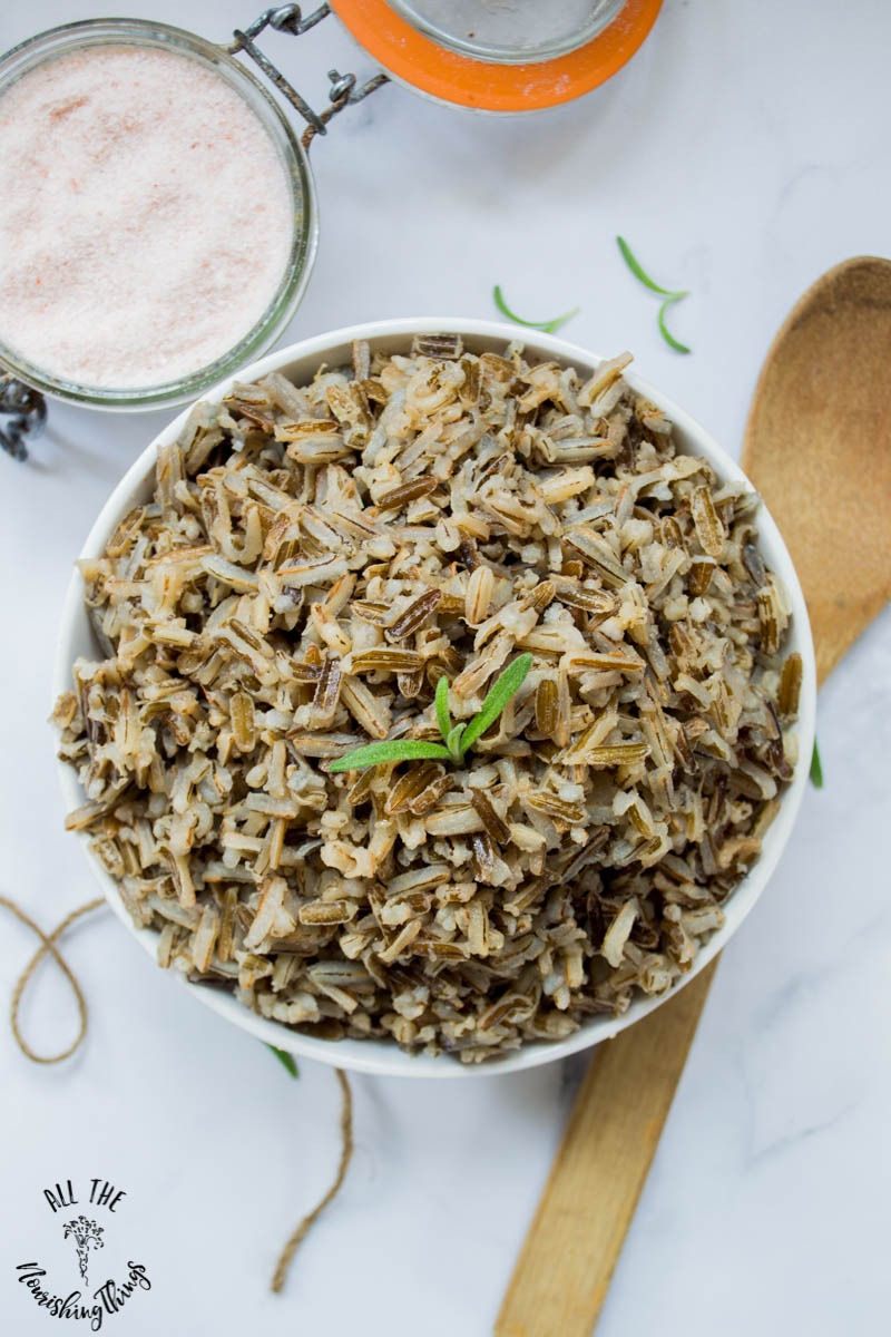 white bowl of instant pot wild rice