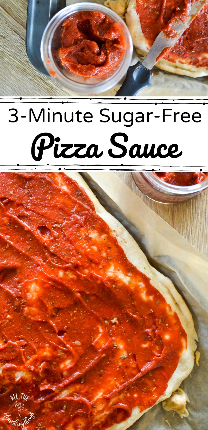 sugar-free pizza sauce with text overlay