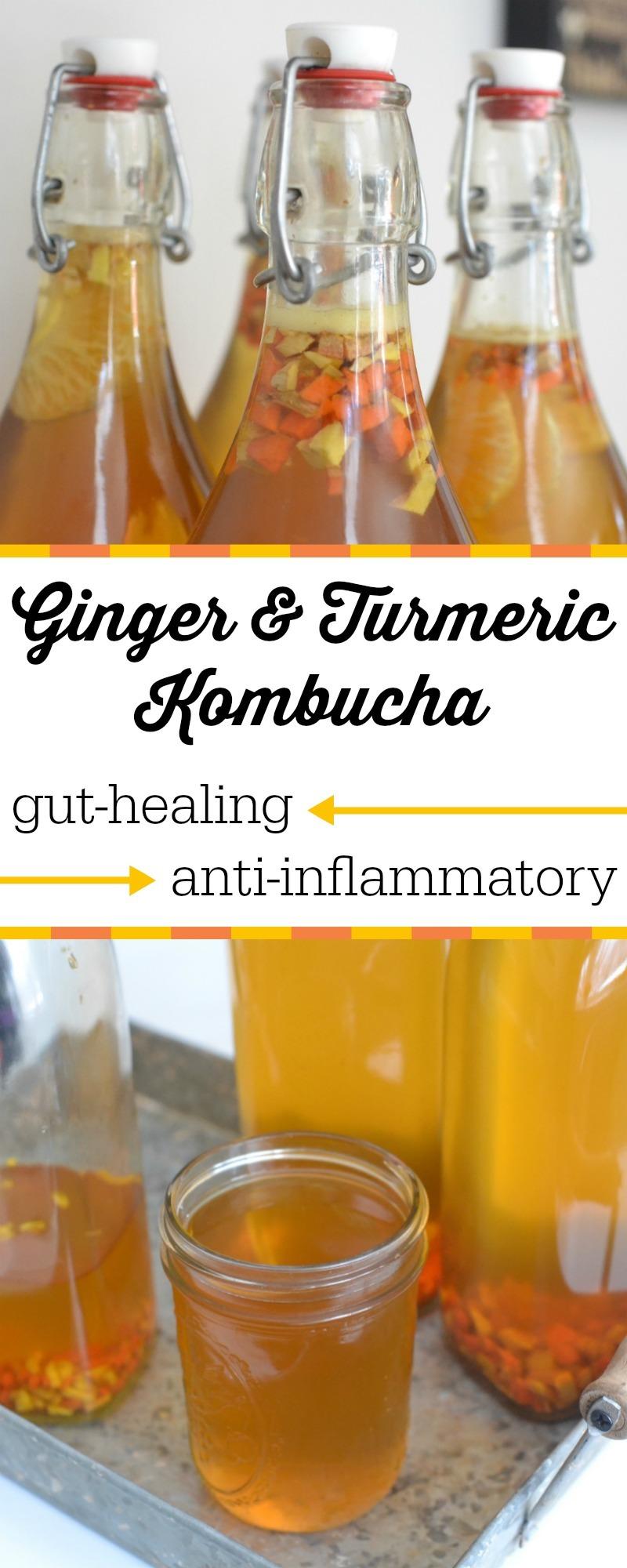 anti-inflammatory and gut-healing ginger and turmeric kombucha