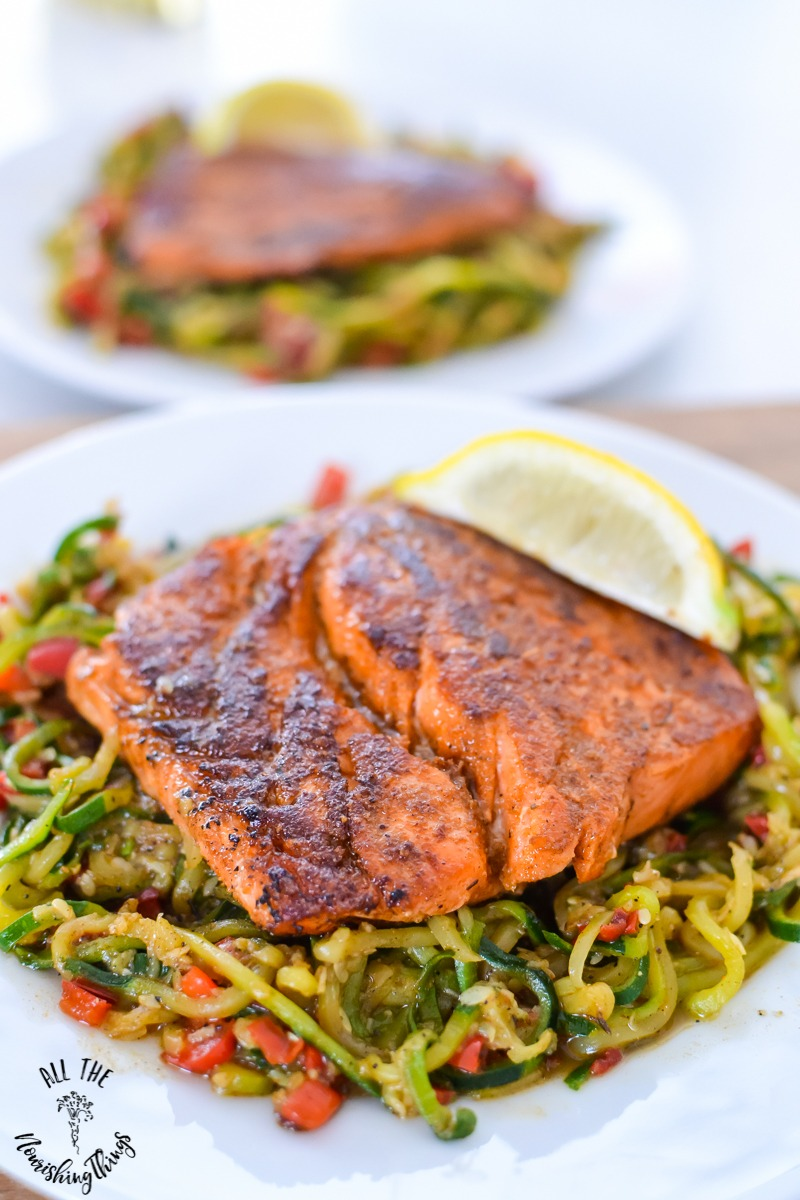 Whole30 Keto Blackened Salmon with Cajun Zoodles (in 1 skillet!)