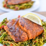 whole30 keto blackened salmon with cajun zucchini noodles