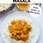 instant pot chicken tikka masala on white plate with text overlay