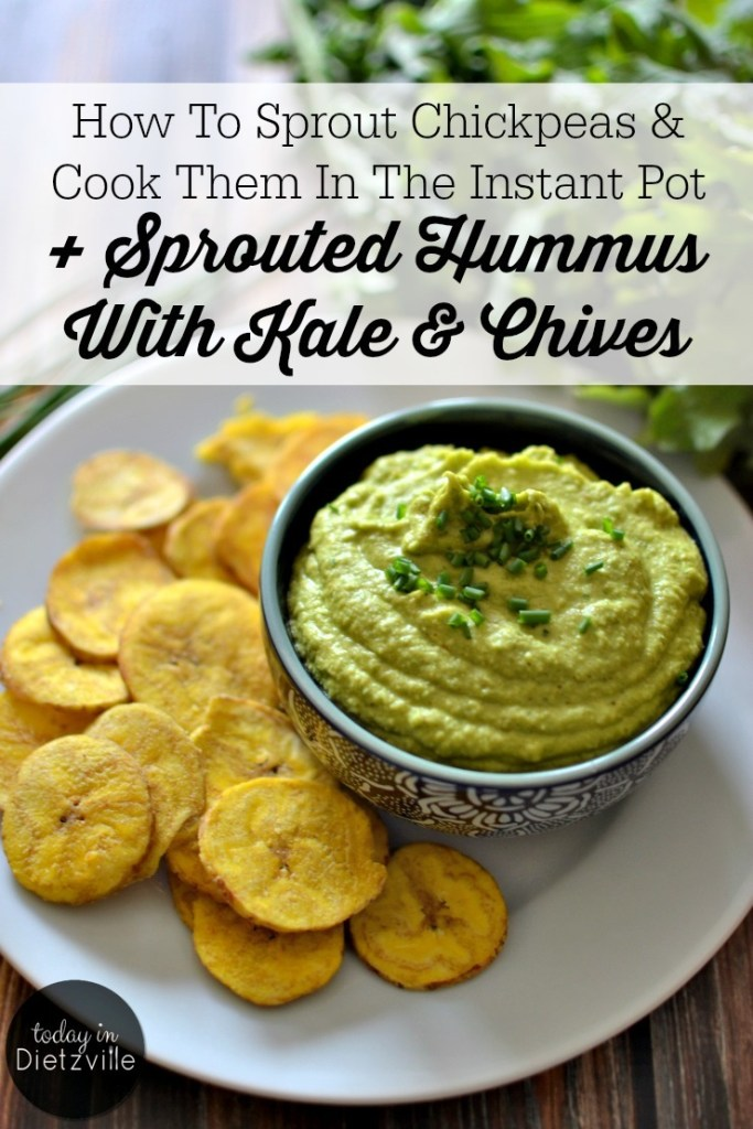 green sprouted hummus with chives and plantain chips and text overlay