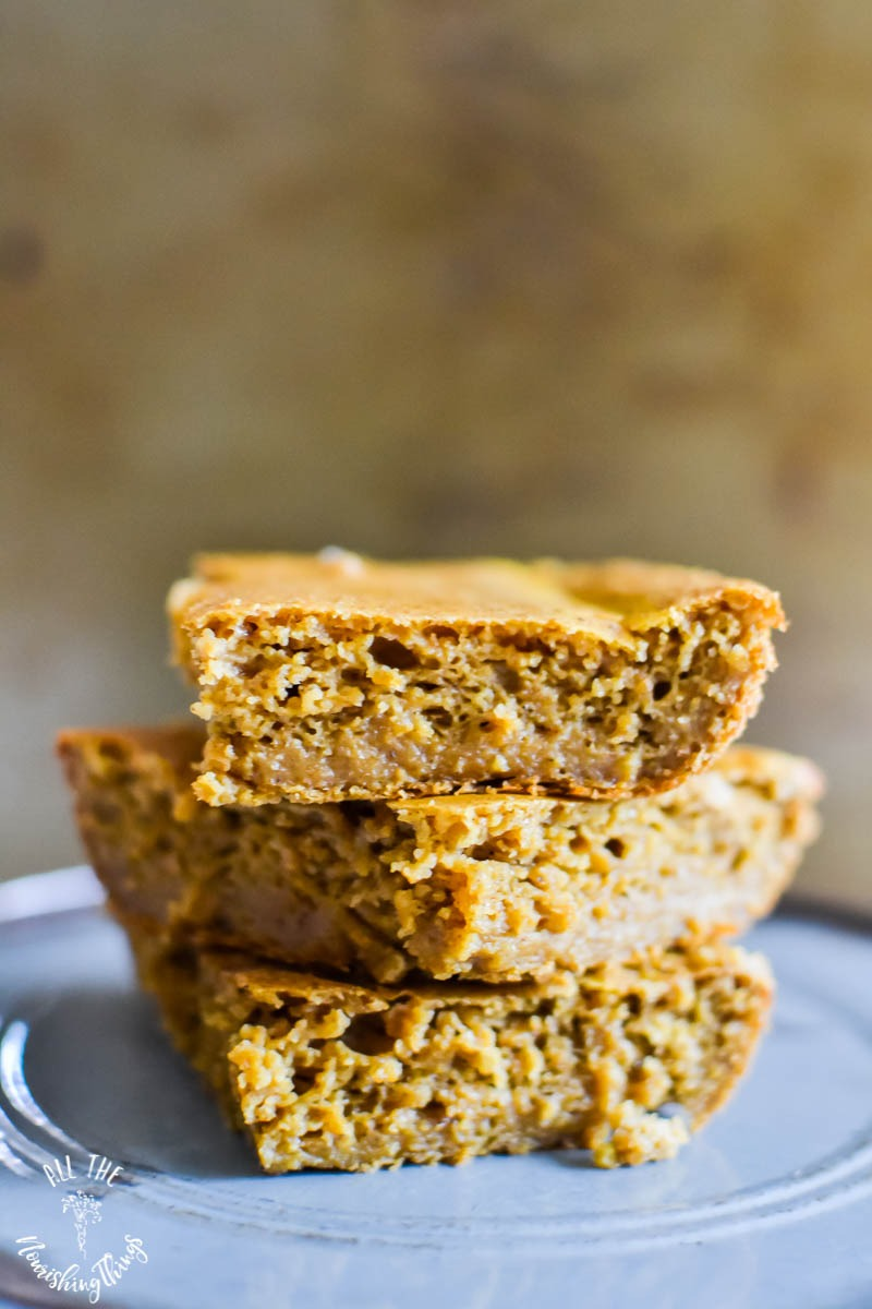 stacked slices of soaked and gluten-free pumpkin spice breakfast cake