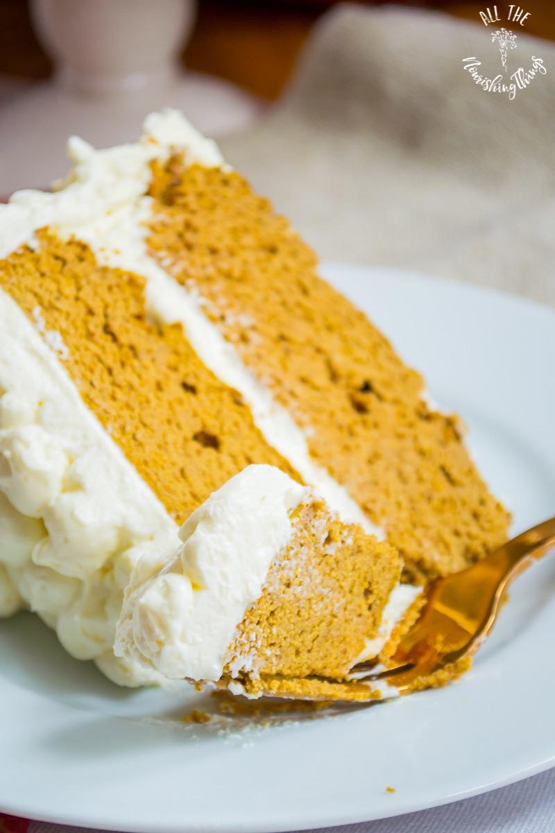 close-up image of a slice of grain-free pumpkin spice cake