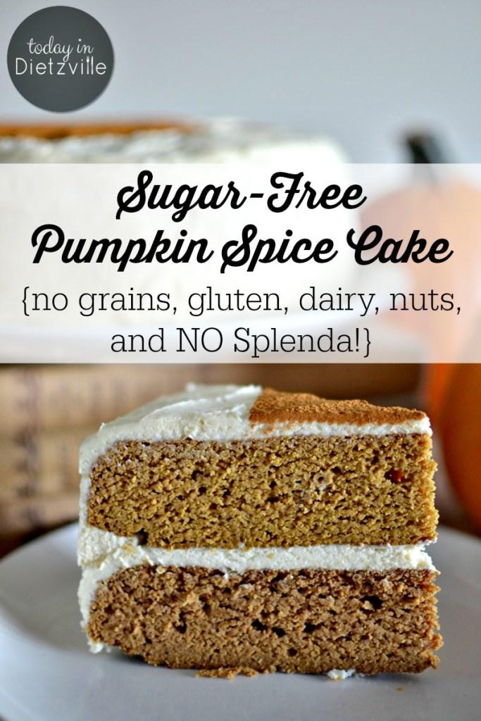Sugar-Free Pumpkin Spice Cake {no grains, gluten, dairy, nuts, & NO Splenda!}