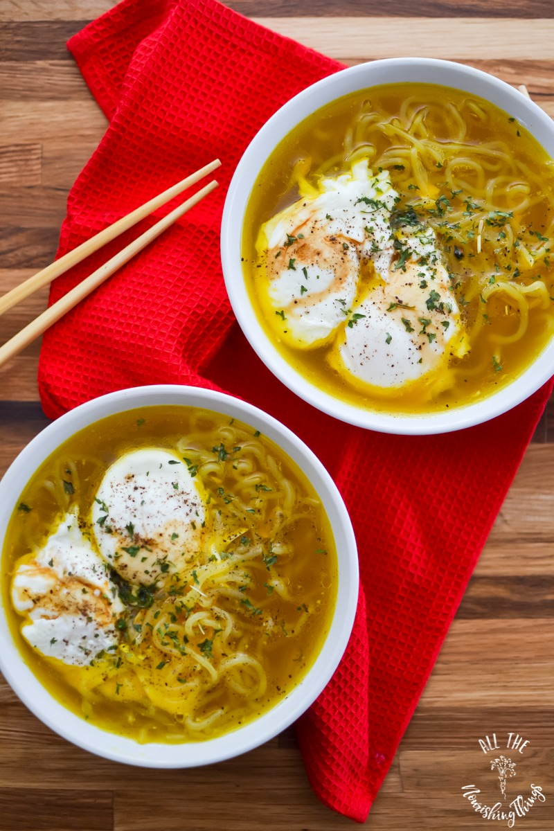 overhead view of 2 bowls of quick keto ramen with bone broth and poached eggs