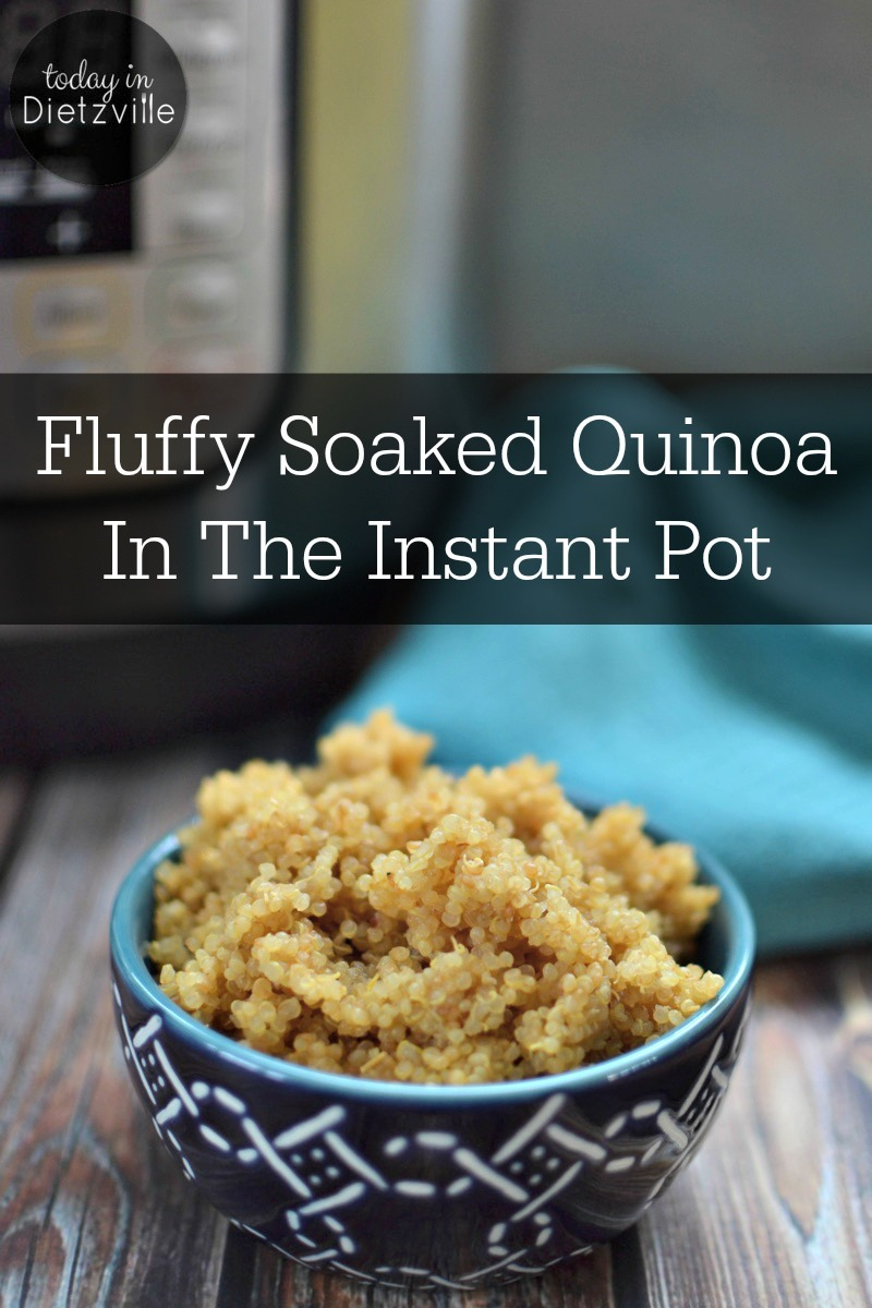 fluffy soaked quinoa in the instant pot in navy blue bowl