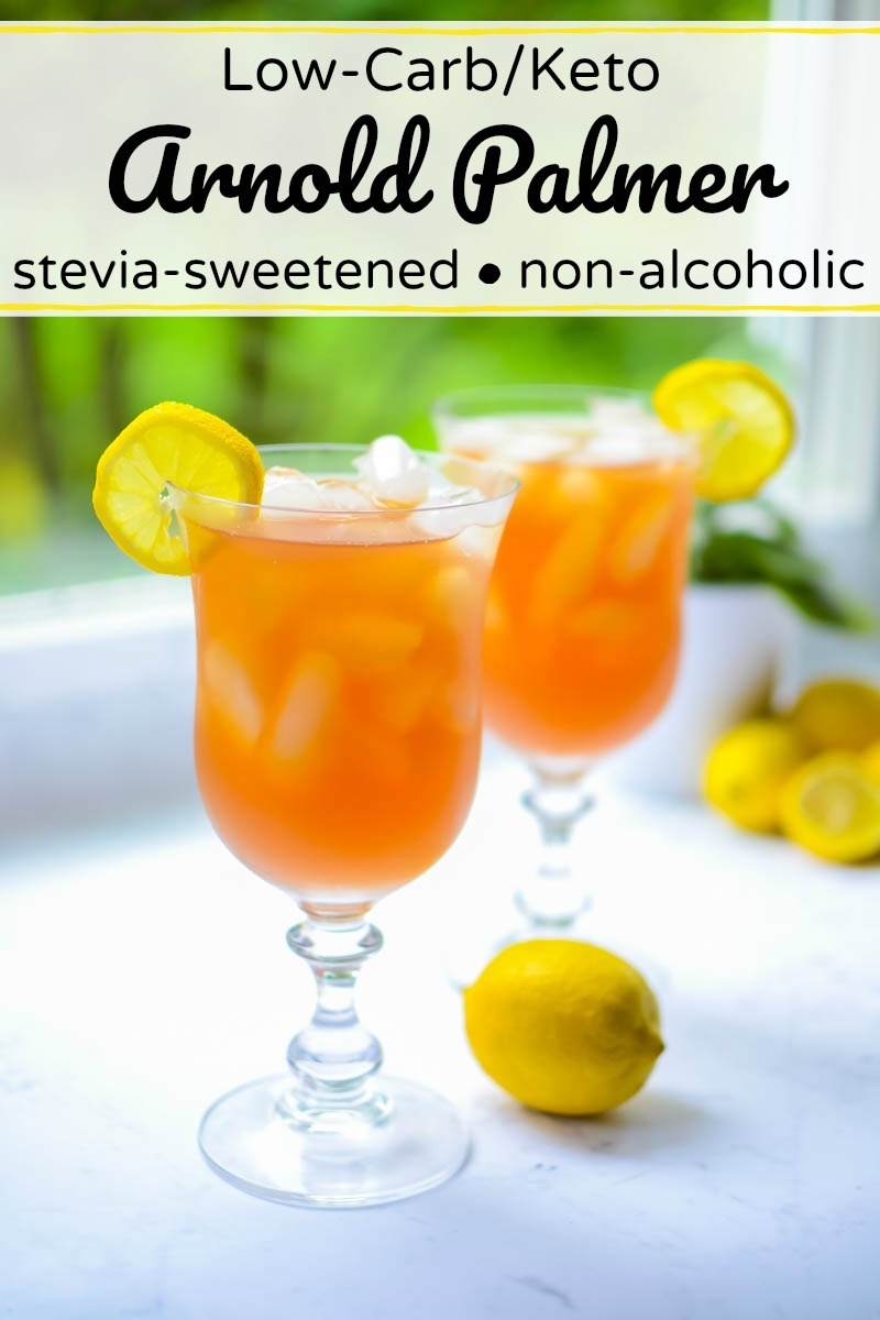 2 glasses of low-carb/keto arnold palmer iced tea with text overlay