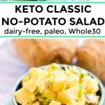 classic no-potato salad made with celeriac in a navy blue bowl