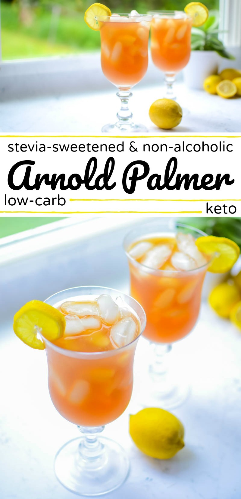 collage image of low-carb/keto arnold palmer iced tea with text overlay between the photos