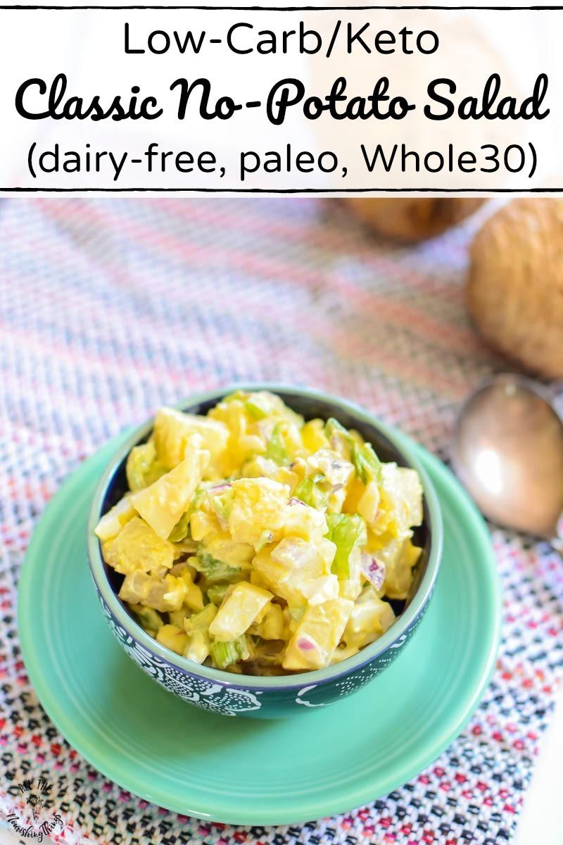 bowl of low-carb/keto classic no-potato salad sitting on colorful towel