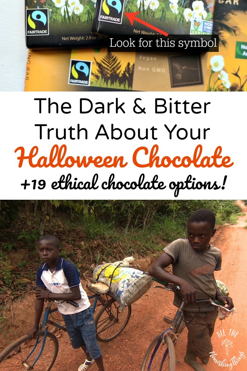 fair trade chocolate symbol with text overlay