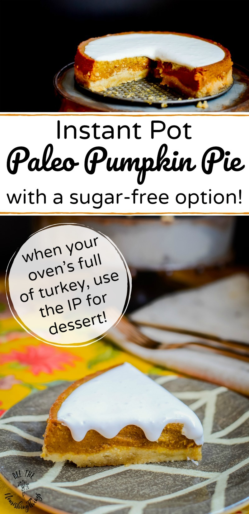 instant pot paleo pumpkin pie with text overlay