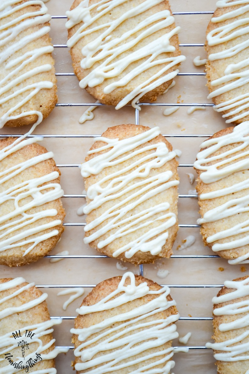 paleo white chocolate peppermint shortbread cookies on cooling rack