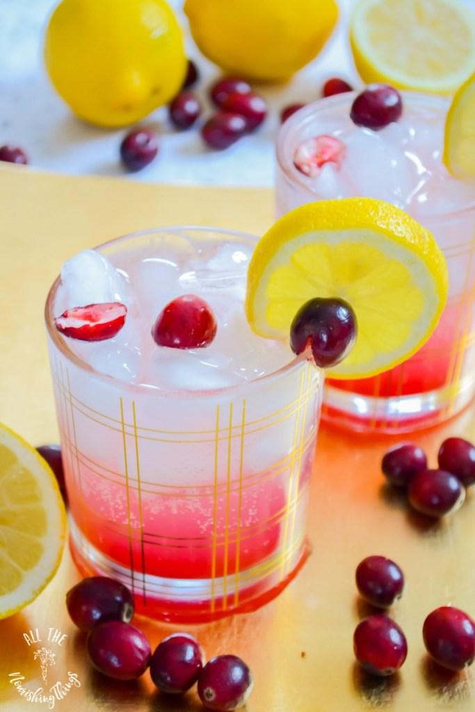 Keto Cranberry Lemon Spritzer (real food, paleo, non-alcoholic)