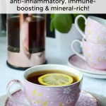 pink china teacup of flu herbal tea with text overlay