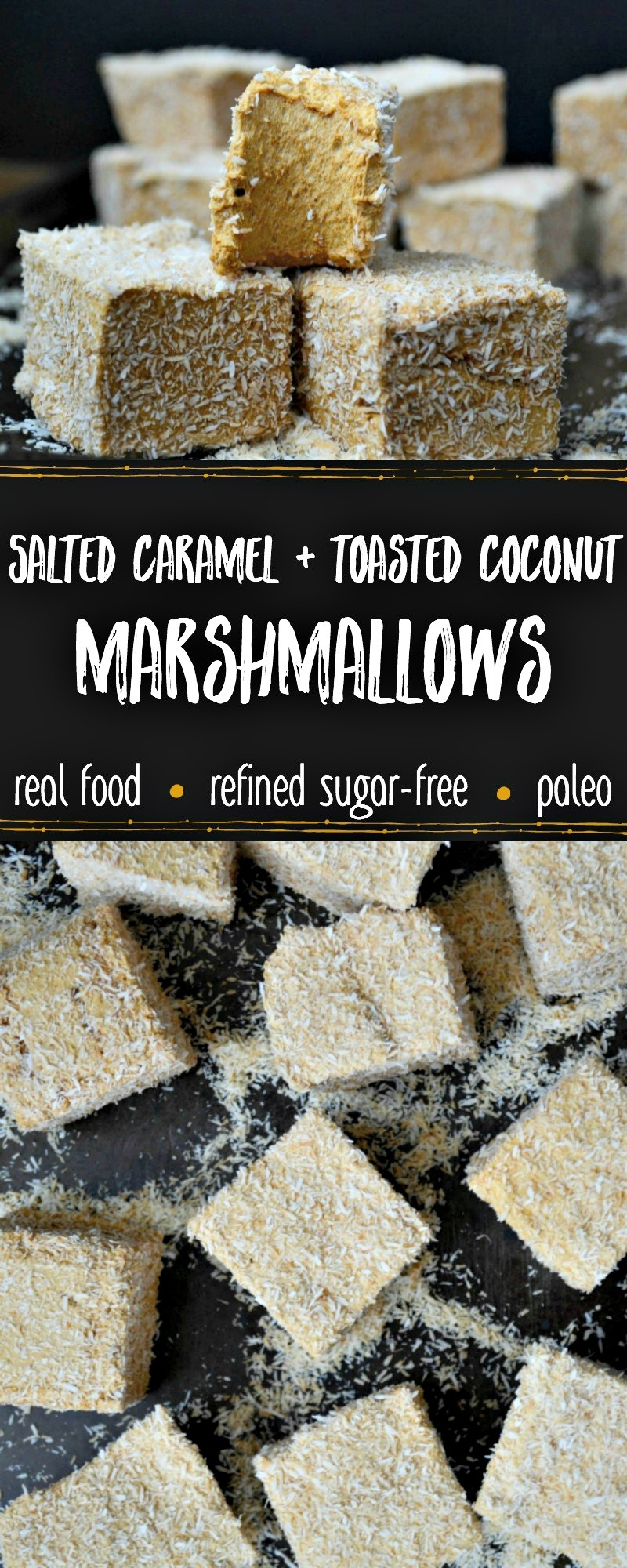 cube marshmallows covered in toasted coconut