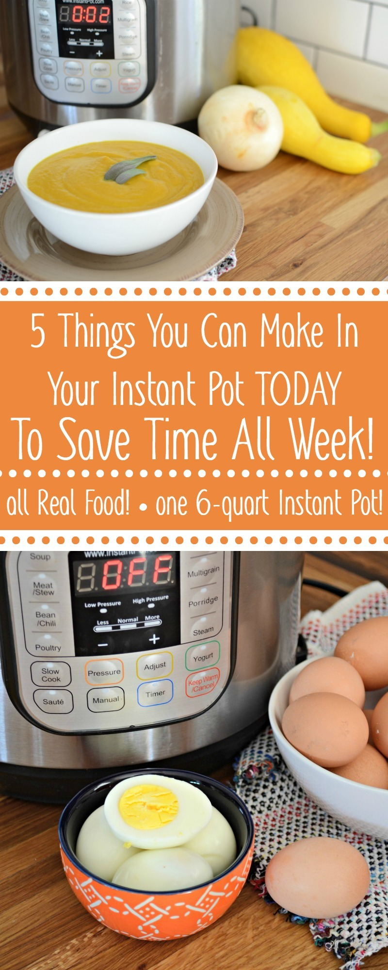 instant pot with blended soup and hardboiled eggs