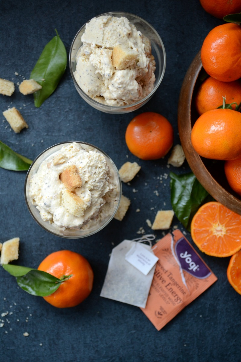 dairy-free black tea and mandarin ice cream on dark background