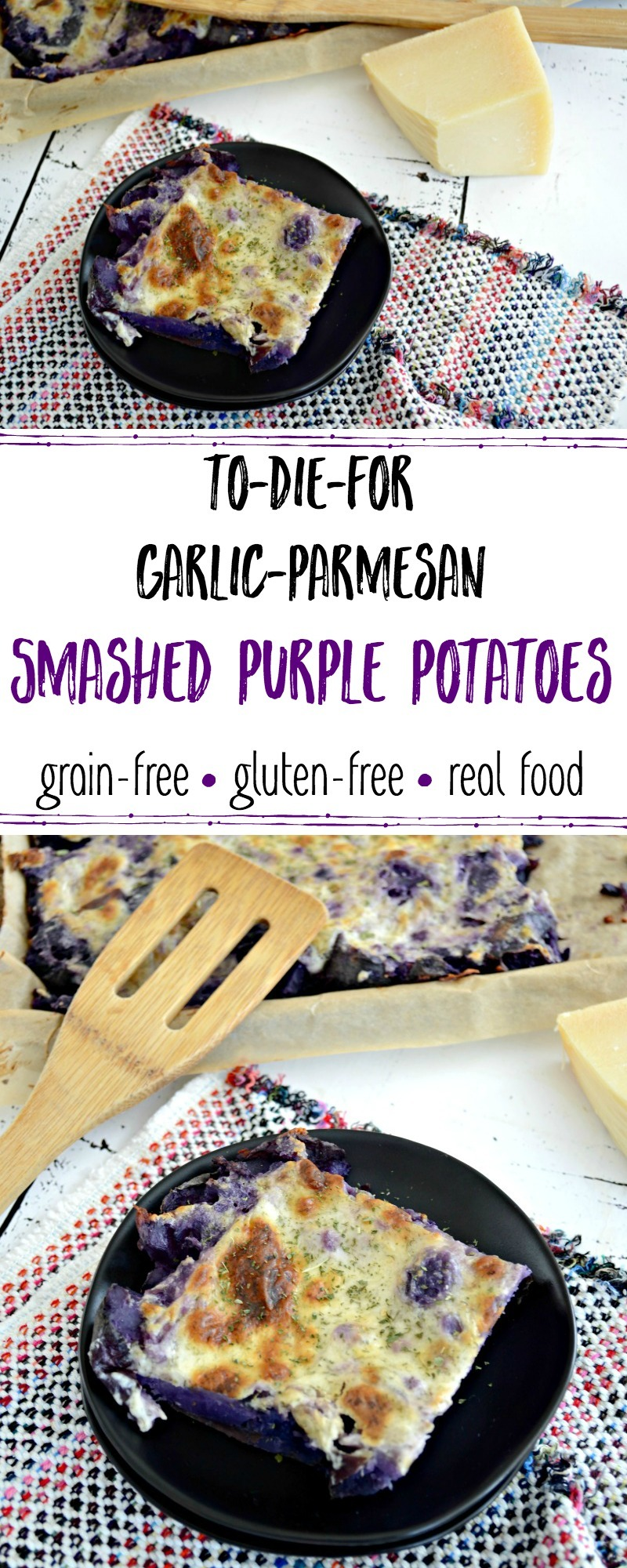 cheesy purple potatoes on black plate with wooden spatula