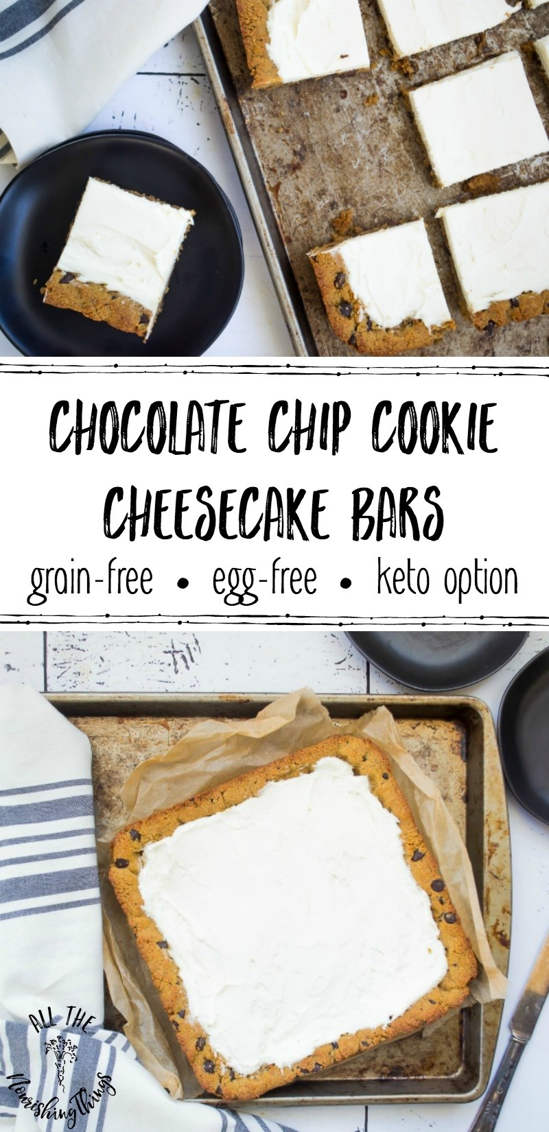 chocolate chip cookie cheesecake bar images with text overlay