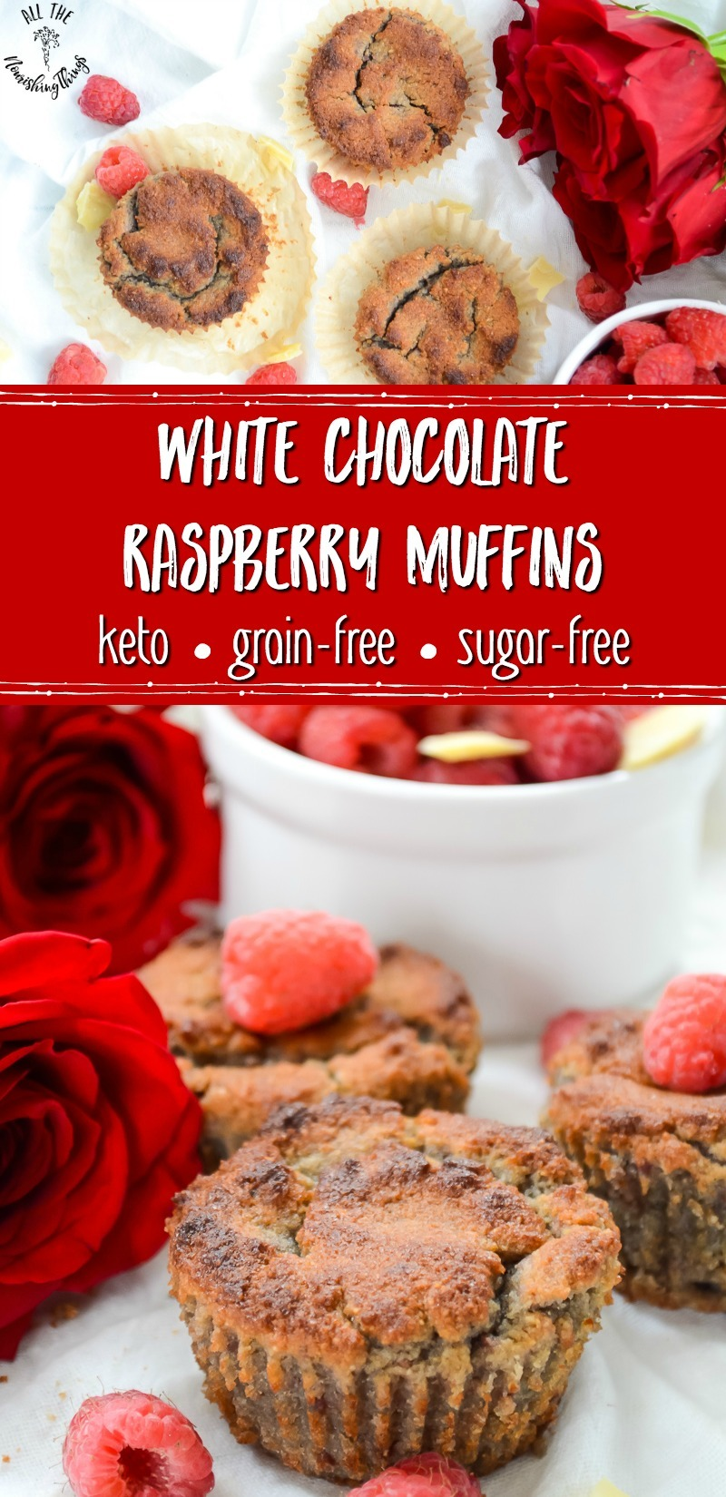 keto white chocolate raspberry muffins with red roses and fresh raspberries