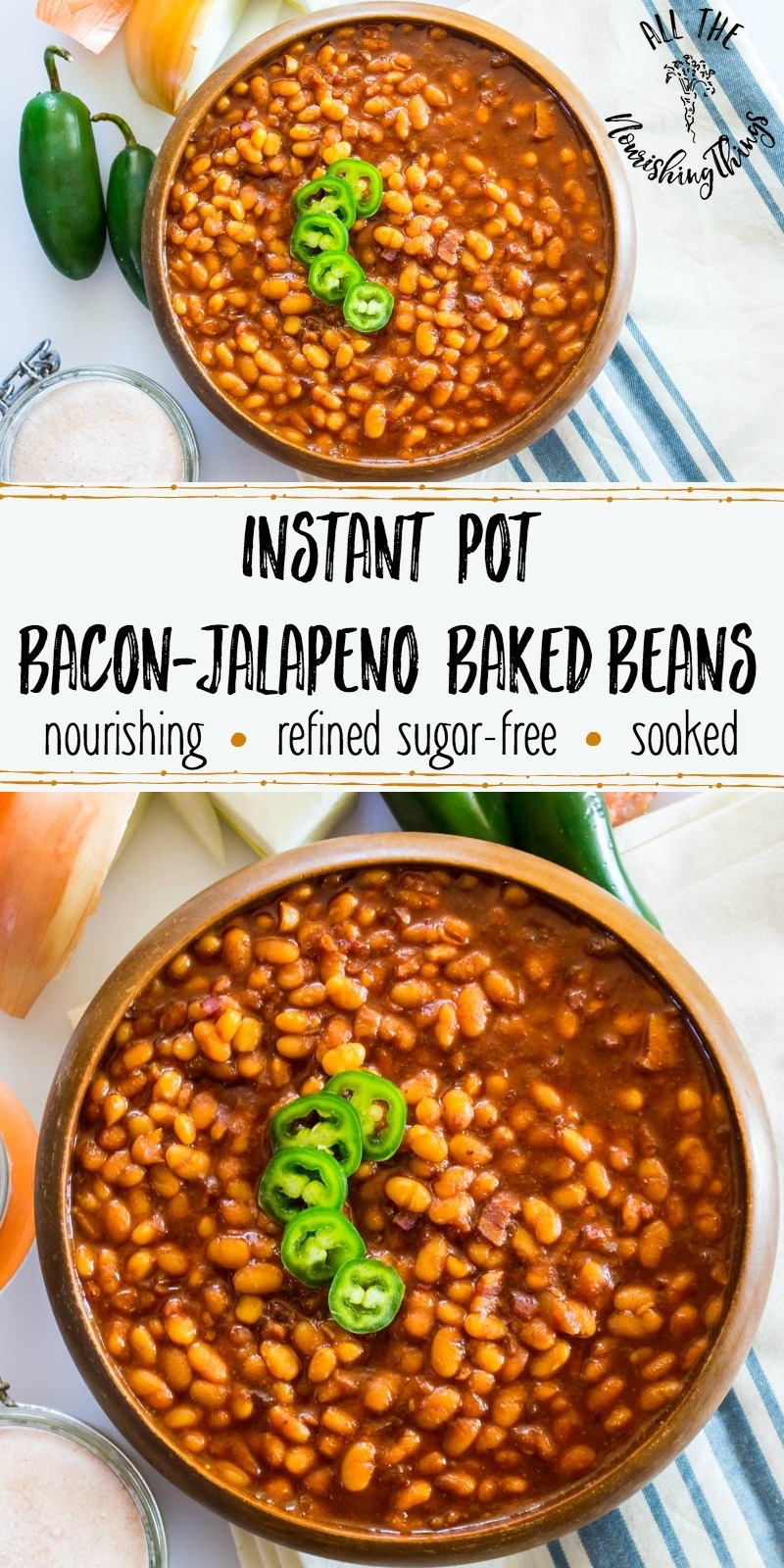 instant pot bacon jalapeno baked beans in wooden bowl with text overlay