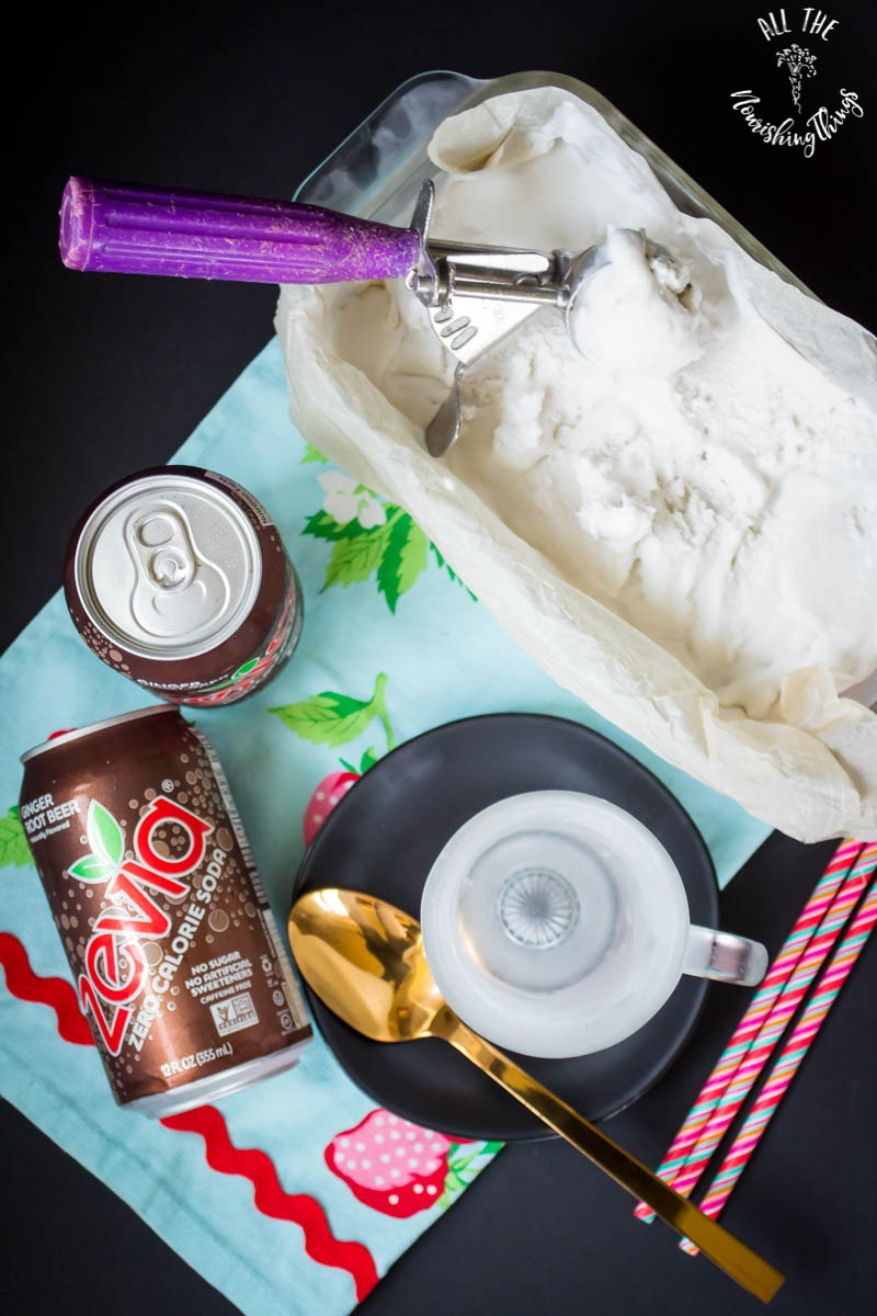 cans of root beer zevia with vanilla ice cream and frosty mug