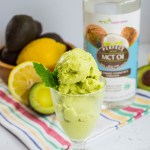 green lemon avocado ice cream with bottle of mct oil in background