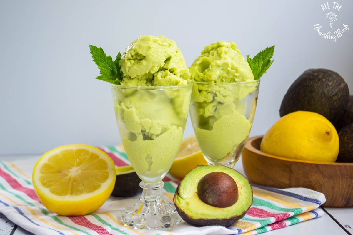 2 cups of green keto lemon avocado ice cream