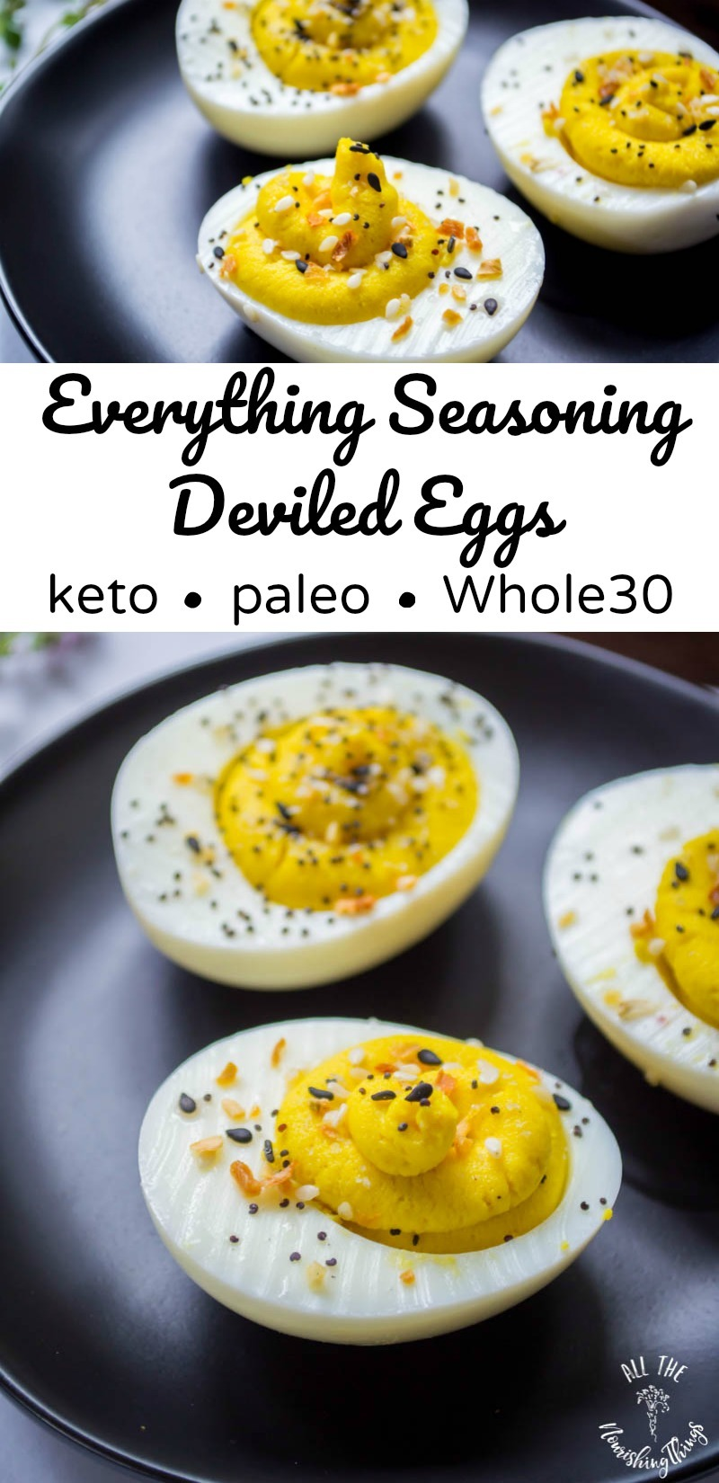 everything seasoning deviled eggs on black plate with text overlay