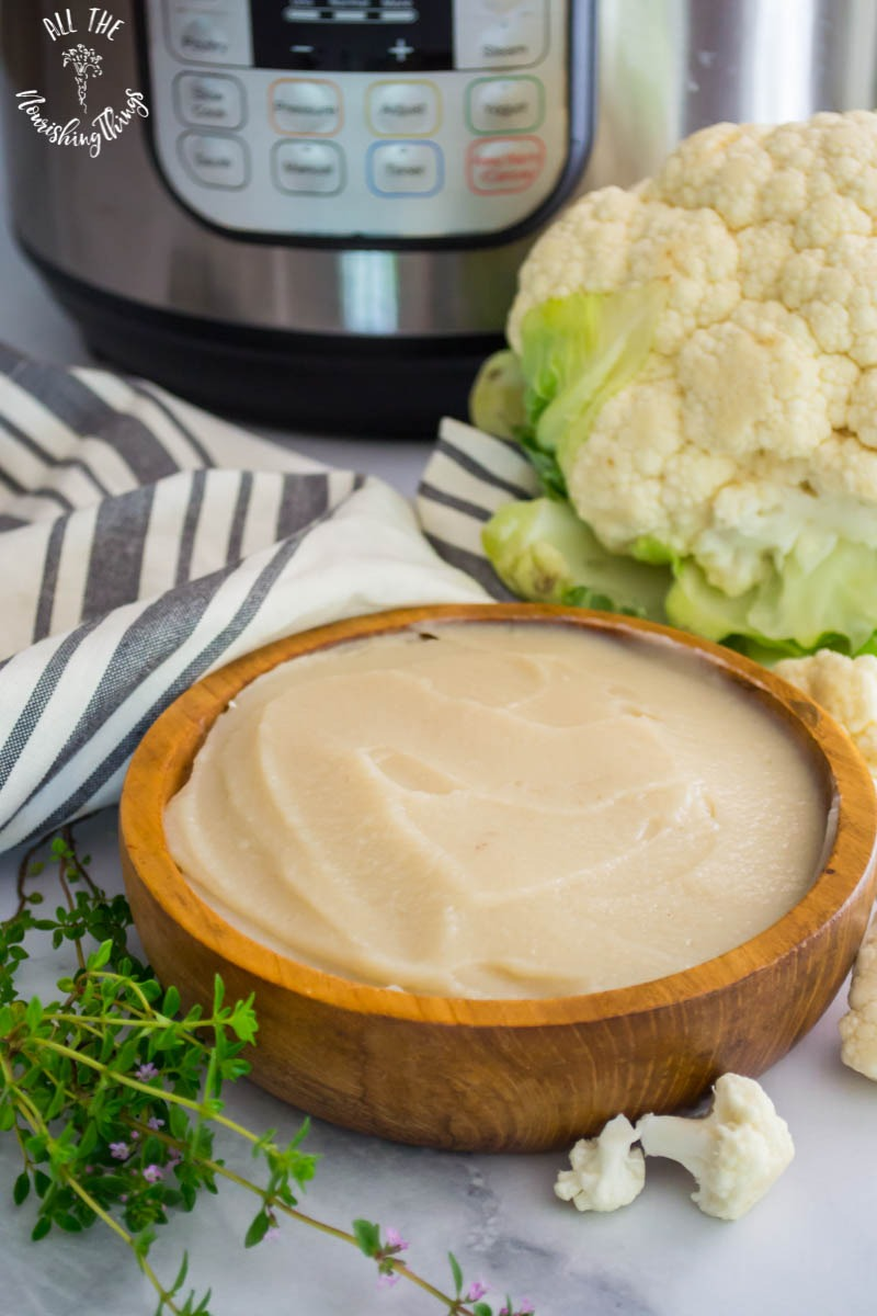instant pot cauliflower cream with head of cauliflower