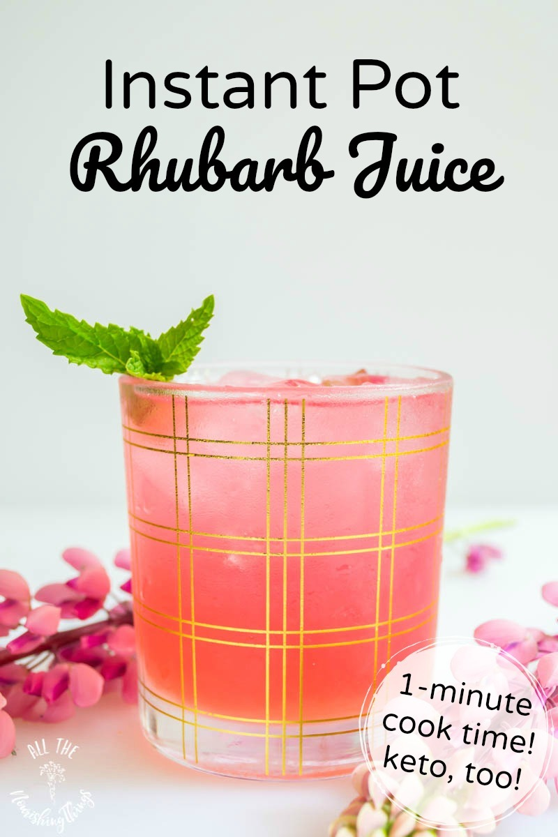 glass of pink instant pot rhubarb juice with text overlay